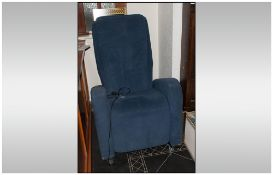 Keyton Reclining Massage Chair, Upholstered in blue fabric. On Castors. Retail £775