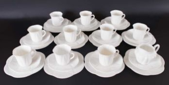 Shelley 39 Piece White Tea Service Including 10 Trios, 2 Sandwich Plates, 2 Side Plates, 1 Milk Jug,