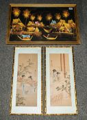 A Pair of Chinese Paintings on Cloth depicting traditional garden settings with ladies in gilt