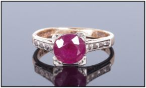 Ladies 9ct Gold Single Stone Ruby Ring Fully hallmarked. Ruby est. 1ct.