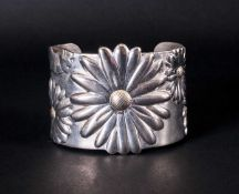 Tiffany & Co Large Silver Daisy Cuff Bangle, with 18ct Gold Overlay To Centre of Daisy, Marked