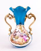 Limoges Turquoise Vase with figures in classical garden setting. 8'' in height.