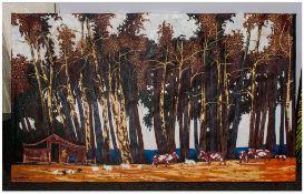 David Hill Makaza Born 1986 Zimbabwean Artist, 'Landscape Forest Scene' Acrylic On Canvas