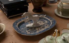 Large Staffordshire China Serving Dish Together With A White Horse Figurine