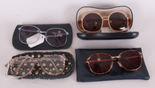 Four Pairs of Assorted Original Retro Sunglasses, with prescription lenses and cases.