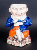 Unusual Antique Staffordshire Figure of The Snuff Taker, Decorated In an Under glazed Blue Coat. 8