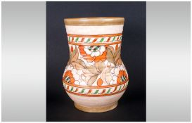 Charlotte Rhead Crown Ducal Signed Vase Circa 1930's 'Tudor Rose' lustred with orange & fawn