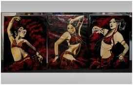 David Hill Makaza Born 1986 Zimbabwean Artist, Three Portraits Of Dancing Girls, Acrylic On Canvas