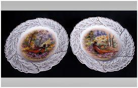 WIHDRAWNXXXXXXXXXXXXXXXXXXX Pair of Hand Painted Cabinet Plates, signed P.Gosling, decorated with