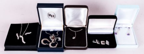 Collection Of Jewellery Comprising Gents Engine Turned Cufflinks, Silver Stone Set Earrings,