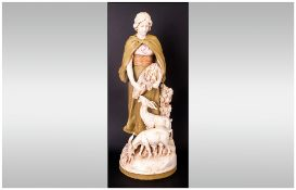 Royal Dux Fine Impressive & Tall Figure The Goat Herder With Two Goats, Circa 1900, Pink triangle to