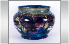 William Moorcroft Signed - Large and Impressive Jardiniere ' Pansy ' Design on Blue/Green Ground.
