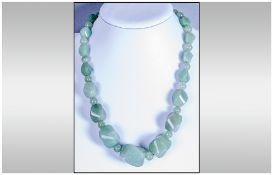 Green Aventurine Large Bead Necklace, graduated, twisted oval beads of the jade-like gemstone,