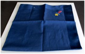 Yves Saint Laurent Blue Silk Scarf with an image and logo of HMS Darling.