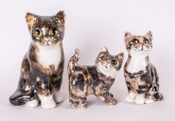 Winstanley Kitten/Cat Figure With Glass Eyes, 3 intotal. Various sizes and positions. All in