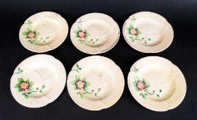 Set Of Six Carltonware Australian Pattern Primrose Tea Plates.