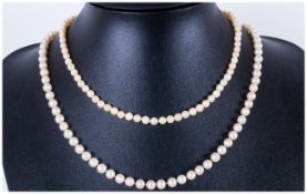 Ladies Cultured Pearl Necklaces, 14ct Gold Clasp, 2 necklaces in total. The pearls of good