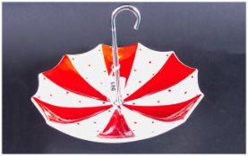 Midwinter Umbrella Cake Dish decorated in red, handle in crowned metal. 8'' in diameter.