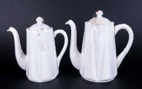 Shelley Ornate White China Ware Coffee Pot & Hot Water Jug.