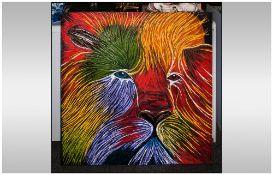 David Hill Makaza Born 1986 Zimbabwean Artist, 'Large Colourful Lion' Acrylic On Canvas  39x39''