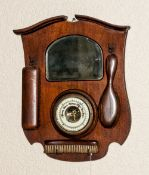 1940's Oak Combined Wall / Hall Barometer / Mirror and Vanity Brush Set. 17 Inches High, 13 Inches