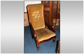 Late 19thC Mahogany Framed Low Arm Chair, Cushioned Seats And Back Rest, Open Arms, Turned Legs On