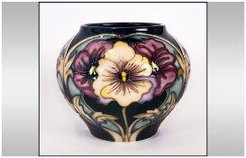 Moorcroft Bulbous Vase 'Pansy' design. Designer Racheal Bishop. Date 24-01-08. First quality. 4.25