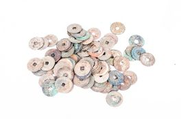 Bag Of Mould 100 Old Oriental Cash Coins With Square Holes In The Centre some identified as