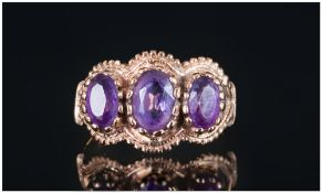 Antique Style 3 Stone Set Amethyst Ladies Ring. Hallmark Edinburgh 1979. The Amethyst of Excellent