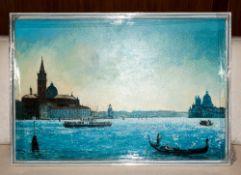 Local Artist Robin W Theobald Contemporary Mounted Original Oil on Canvas. 'San Giorgio Maggiore,