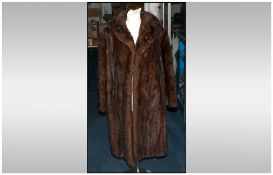 Ladies Three Quarter Length Dark Brown Mink Fur Coat, Fully lined. Collar With Revers, Slit pockets,