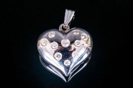 18ct White Gold Heart Shaped Pendant, Set with Brilliant Cut Diamonds, Est Diamond Weight 75 pts.