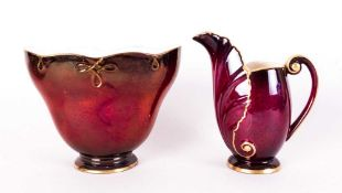 Carlton Ware Rouge Royale Matching Jug and Vase. c.1950's. Jug 4.5 Inches High. Mint Condition.