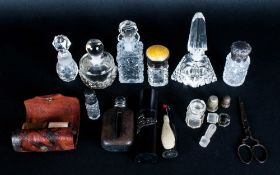 Mixed Lot Comprising Scent Bottles (3 Silver Topped), Novelty Penguin Sewing Case, Scissors, Pin