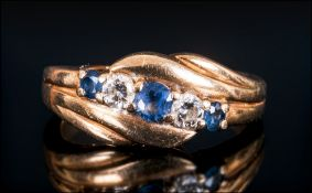 Antique Ladies 18ct Gold Diamond and Sapphire Ring. Small Size. Not Marked but Tests 18ct Gold.