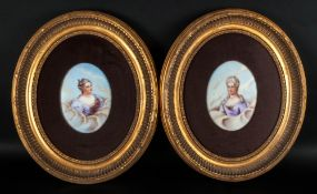 French Painted Porcelain Oval Plaques, a Pair of Portrait Miniatures Depicting Elegant Ladies In