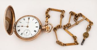 Waltham - Antique Gold Plated Full Hunter Pocket Watch with Attached Antique Gold Plated Guard
