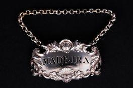William IV - Ornate Silver Spirit Label and Chain ' Madeira ' Hallmark Birmingham 1830. 2.5 Inches