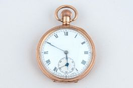 Antique - 10ct Gold Plated Open Faced Pocket Watch, Guaranteed to be of Two Plates of 10ct Gold,