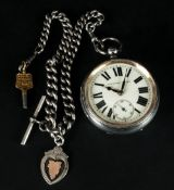 Victorian Large and Heavy Silver Open Faced Pocket Watch, Attached to a Heavy Silver Albert Chain