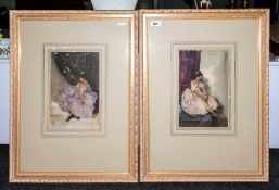 A Pair of  Russell Flint Coloured Prints, 10'' in diameter, Elegant Ladies, Framed & Glazed. Overall