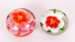 Chinese Early Glass Paperweights ( 2 ) In Total. Lamp work Flower - Designs. c.1920's. Good