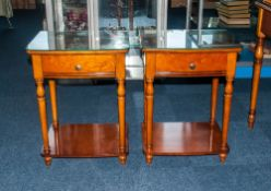 Pair of French Cherry Wood Finish Bedside Tables with a Single Draw Supported on Turned Legs, with