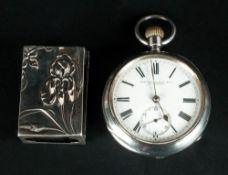 Edwardian Silver Open Faced Pocket Watch. Hallmark Birmingham 1911 + an Art Nouveau Silver Match Box
