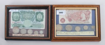 Two Framed Bank Notes Comprising An Old Pound Note And A Ten Shilling Note With Pre Decimal Coins.