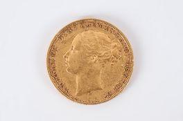 Victorian Young Head 22ct Gold Full Sovereign. Date 1879. Melbourne Mint. V.F. Condition.
