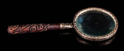 Oriental - Ornate and Hand Made 19th Century Silver Framed Magnifying Glass. Carved Wooden Handle. 6