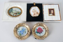 Five Various Miniatures Two In faux Ivory Frames, Depicting a Lady and Landscape, Dried Flowers In
