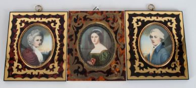 Set of Three Miniatures In Faux Tortoiseshell and Brass Inlaid Frames, Hand Painted with Two
