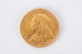 Victorian Old Head 22ct Gold Full Sovereign. Date 1894. Sydney Mint. V.F- E.F. Condition.